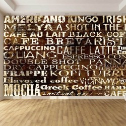 Photo mural wall with inscriptions coffee types