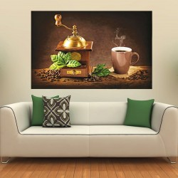 Photo mural Cup of cappuccino coffee with a mill