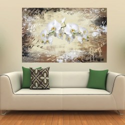 Photo mural Retro composition with inscriptions of coffee and white orchids