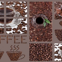 Wall murals collage of coffee in 2 colors