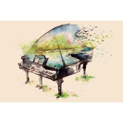 Wallpapers painted art piano in 3 colors