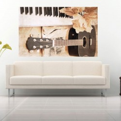 Wall mural designers guitar in brown