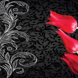 Photo mural design model with tulips in red and black