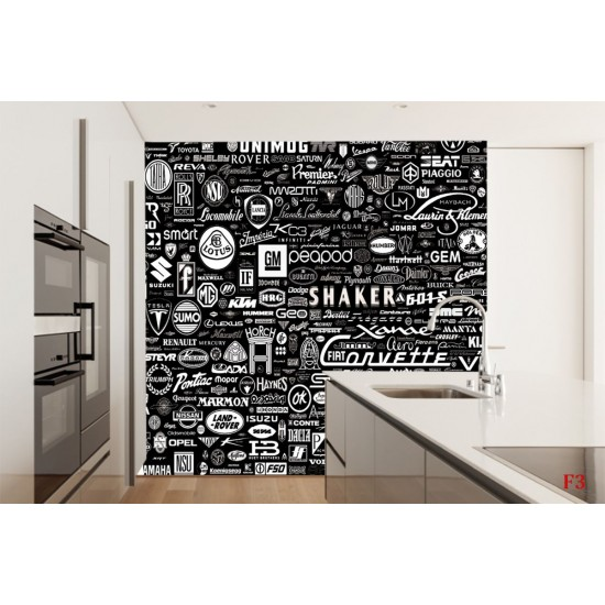 Photo mural design Inscriptions car in black and white