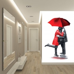 Wallpapers mural couple in love with red and black painted