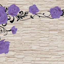 Photo mural purple roses on a stone wall imitation