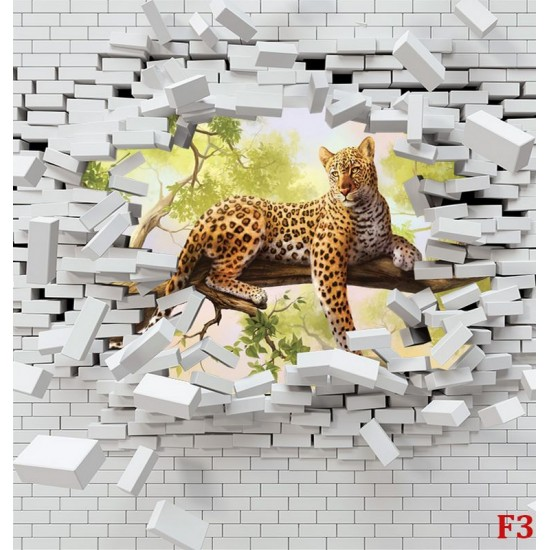 Photo mural a broken brick wall with a leopard on a tree