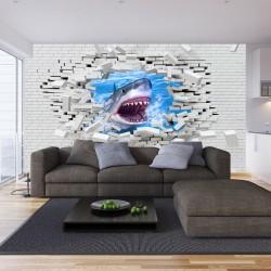 Photo mural broken brick wall with predatory shark