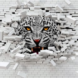 Photo mural broken brick wall with predatory leopard