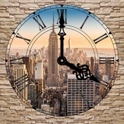 Photo mural stone wall view New York Clock