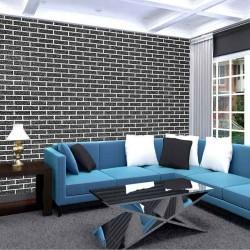 Photo mural imitation embossed black bricks white edge