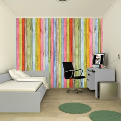 Wall mural colorful wooden beams