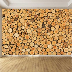 Photo mural Imitation wall of  woods logs