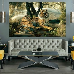 Photo mural picture painted tiger her cubs