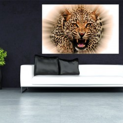 Wall mural leopard in orange lights effect