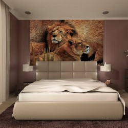 Wallpapers mural a pair of lion and lioness