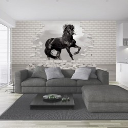 Wall mural black horse in the broken brick wall