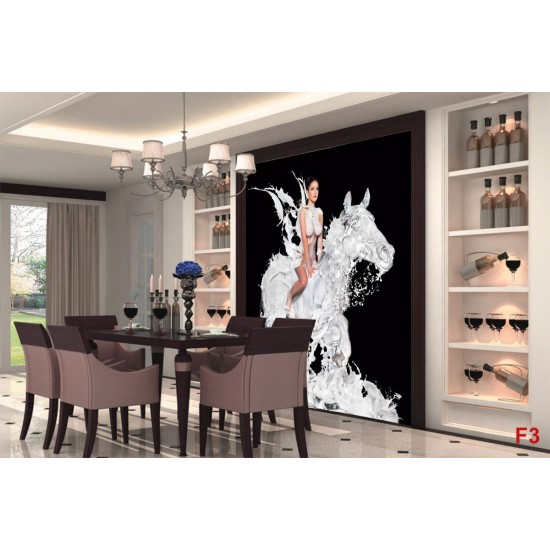 Wallpapers mural art woman on horseback