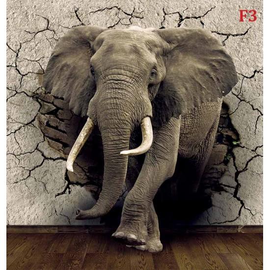 Wall murals 3D model broken wall - elephant