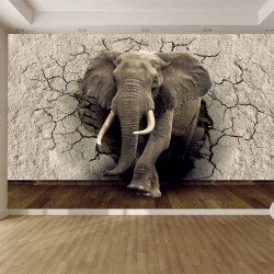 Wall murals 3D model broken wall - elephant