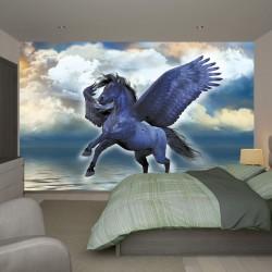 Wall mural fantastic horse Pegasus blue