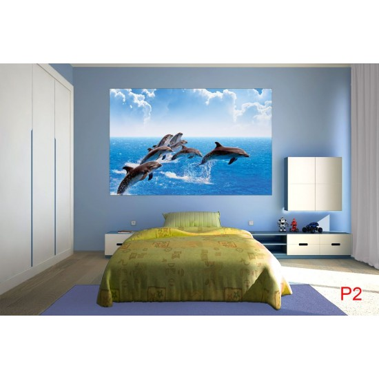Photo mural  dolphins in sea waves