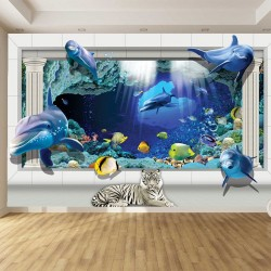 Wallpapers mural 3d view with dolphins and columns