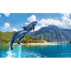 Photo mural jumping dolphins amid mountain views