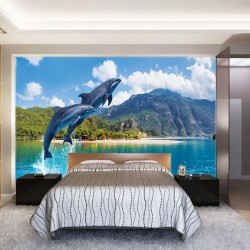 Photo mural jumping dolphins amid mountain views