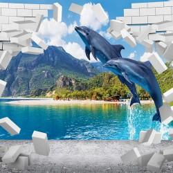 Photo mural jumping dolphins and broken brick wall