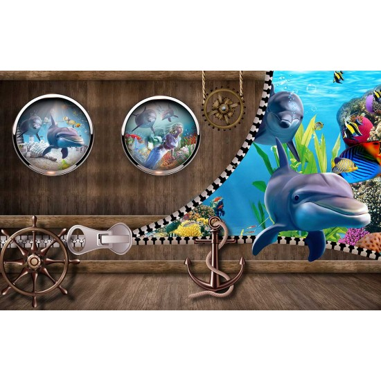 Photo mural 3D effect wall with dolphins and hatches