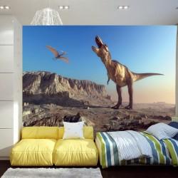 Photo murals dinosaur the background of mountain