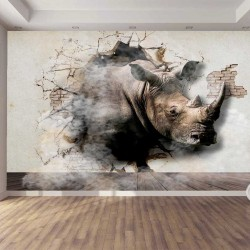 Wall murals 3D broken wall plaster with rhino