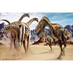 Wall murals dinosaurs running in the desert