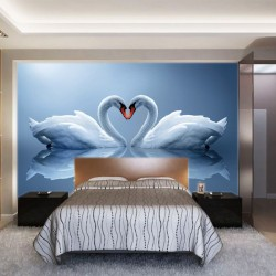 Photo mural swan couple in mirror view in 2 colors