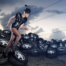 Wallpapers woman with background of tires