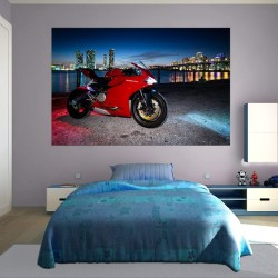 Wall mural red  motor city night view background