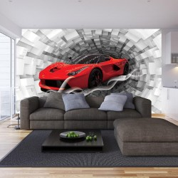Wallpapers abstraction 3d spiral with red Ferrari