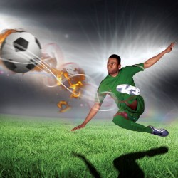 Photo mural football player with ball on dark gray background