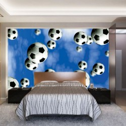 Wallpapers mural football balls in blue background