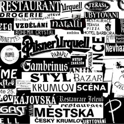 Wall murals Restaurant signs in black and white