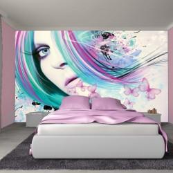 Wall murals art woman artistic model with butterflies