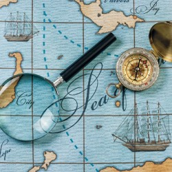 Wallpapers sea map with magnifying glass and compass
