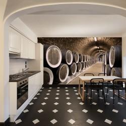 Wall mural wine cellar with wine barrels