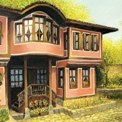 Wall mural painting of an old house in Plovdiv