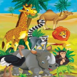 Photo mural children animals  African giraffe and other
