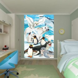 Photo mural Children with penguins and the white bear