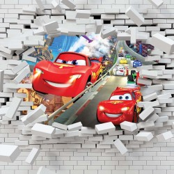 Photo mural McQueen car a broken-down wall in 2 colors