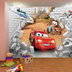 Photo mural McQueen cars broken brick wall