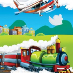 Photo mural kids train and a plane